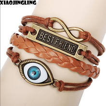 XIAOJINGLING 2017 New Fashion Vintage Alloy Infinity Evil Eye Best Friend Words Letters Leather Friendship Wish Bracelet Jewelry