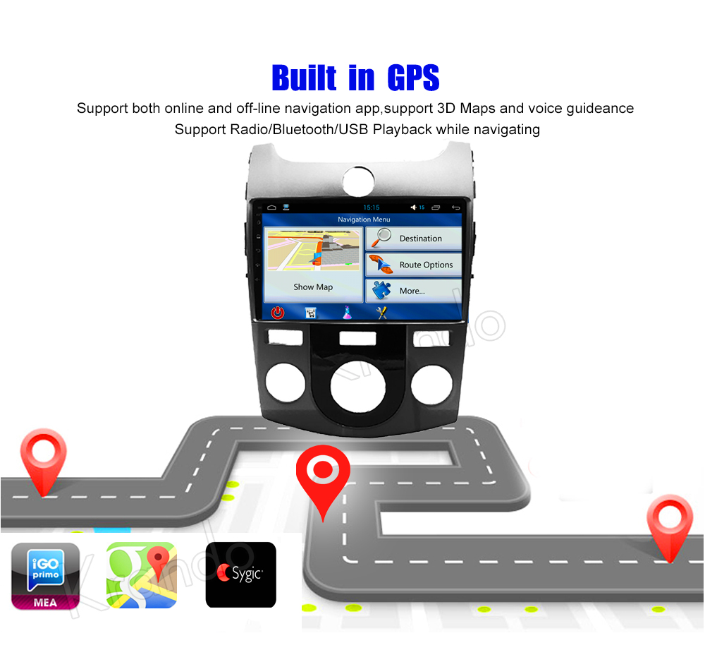Krando Android car radio gps navigation multimedia system for KIA FORTE 2008 2009 2010 2012 (4)
