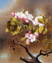 Dining Room Oil Painting Flower Hand Painted Martin Johnson Heade Branch of Apple Blossoms Against Cloudy Sky Canvas Art
