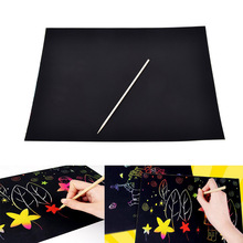 1A4 Sheets Kids Painting Set Scratch Paper Colorful Magic Scratch Art Painting Paper With Drawing Stick Baby Playing Toys(China)