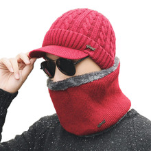 Buy 2017 Winter new Beanie Women Men Fashion Solid Fur Wool Lining Thick Warm Knit Winter Hat Cap Scarf Skullies Bonnet Scarf for $5.28 in AliExpress store