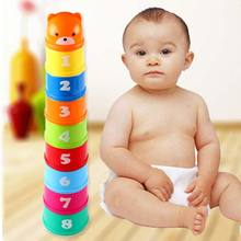 Buy 9pcs Baby Children Kids Educational Toy Building Block Figures Letters Folding Cup Pagoda Gift -17 BM88 for $3.00 in AliExpress store