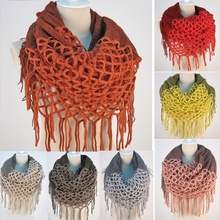 Fashion Women Winter Warm Knit Loop Scarf Tassels Soft Shawl Two styles Infinity and straight