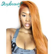 Rosabeauty 360 Lace Frontal Wigs Brazilian Straight 100% Human Remy Hair Wig For Black Women Pre Plucked Hairline with Baby hair(China)