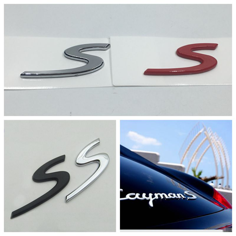 3D Glossy Silver Rear Letters Badge emblem Sticker S For 2011 Porsche Cayenne