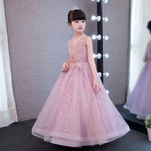 Glizt Children Kids Prom Gown Designs Little Baby Girl Party Frocks Flower Girl Sequin Tulle Wedding Dress Girl Clothes