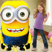 10PCS 92*65cm Cute Minions Mylar Balloons Despicable Me 2 Giant Foil Balloons Cartoon Kids Balloon Toys(China)