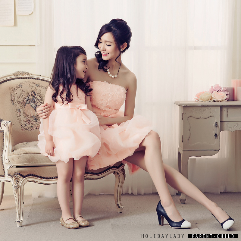 2016 Mother and Daughter Clothes Mother and Daughter Party Dress Women Evening rose flower Dress Toddler Girls Evening bow Dress<br>