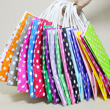 1pcs Natural kraft paper bag with handle Polka Dot kraft paper gift bag avor Paper Gift Bags for  Wedding Party Favor