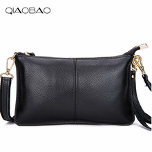 QIAOBAO 100% Natural Leather Bag Women Day Clutch Bag Cowskin Cowhide Envelope Purse Shoulder Bag Eevening Party Ladies Wristlet