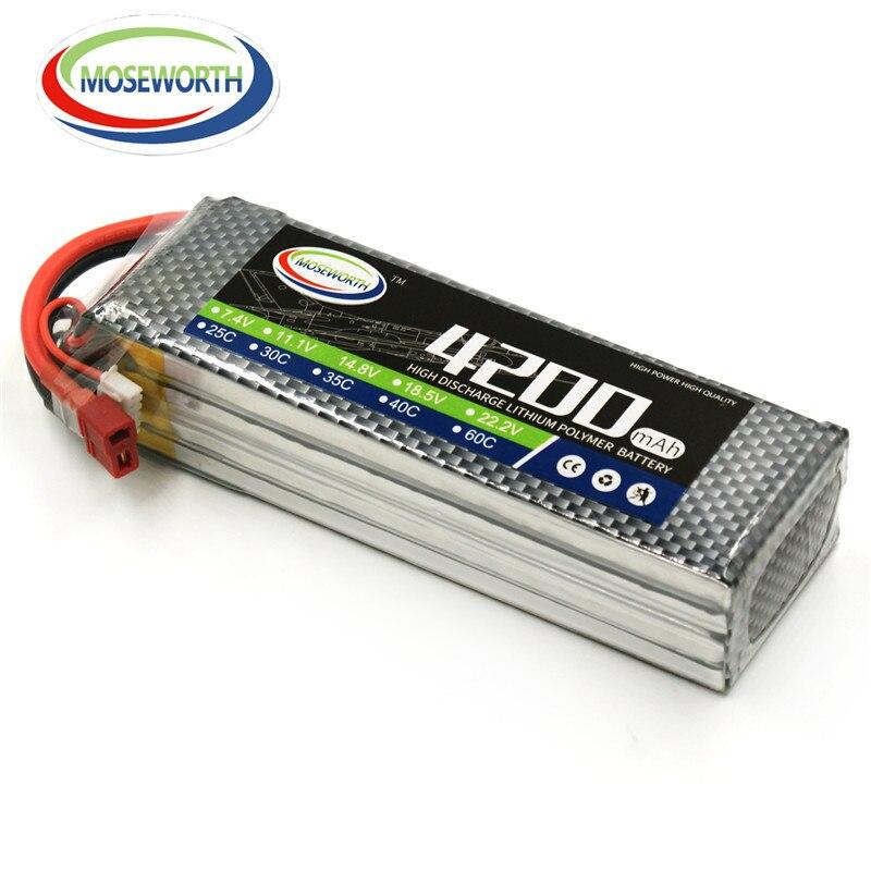 MOSEWORTH 4S 14.8v 4200 25c RC lipo battery for rc airplane quadcopter car Li-po batteria akku free shipping<br>