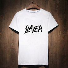 Slayer Letter Print T-shirt Male Tshirt Men Tee Shirts Punk Rock Music Heavy Metal Music palace White Street wear Anime Lab