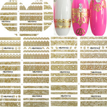 1sheets 12designs New Gold Lace DIY Stickers Nail Art Manicure Styling Tools Shining Nail Art Decals for Polish TRHBJY001-018(China)
