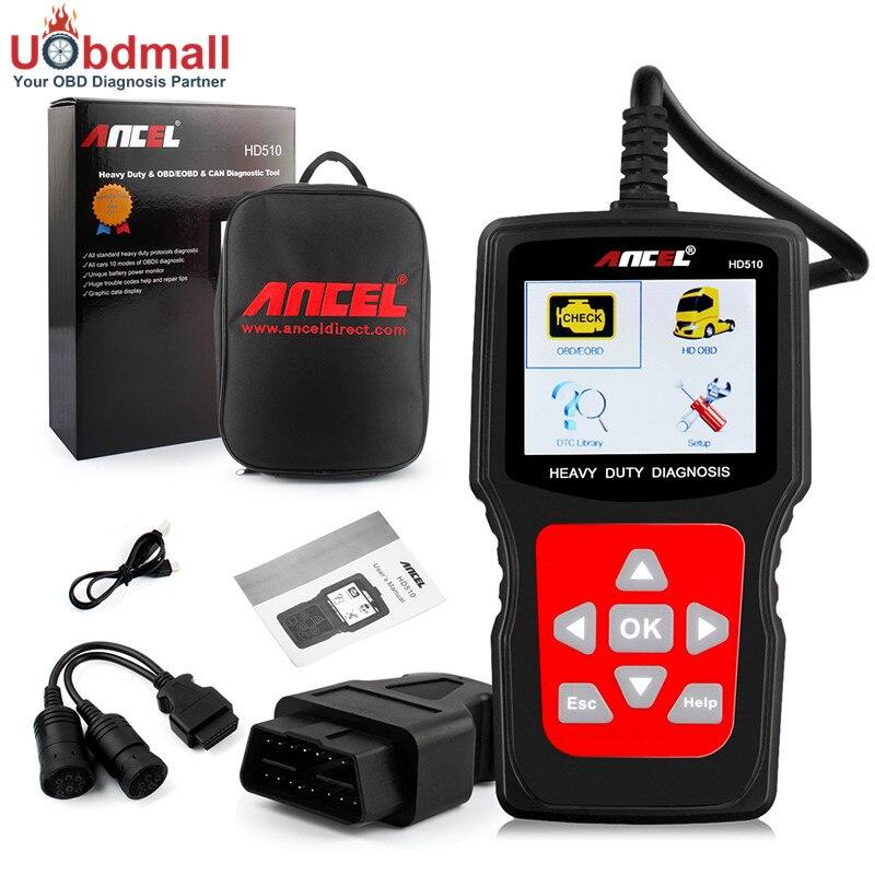 Universal Truck Diesel Scanner ANCEL HD510 OBD2 EOBD HDOBD Heavy Duty Analyzer Diagnostic Tool Car Trucks 2 in 1<br><br>Aliexpress