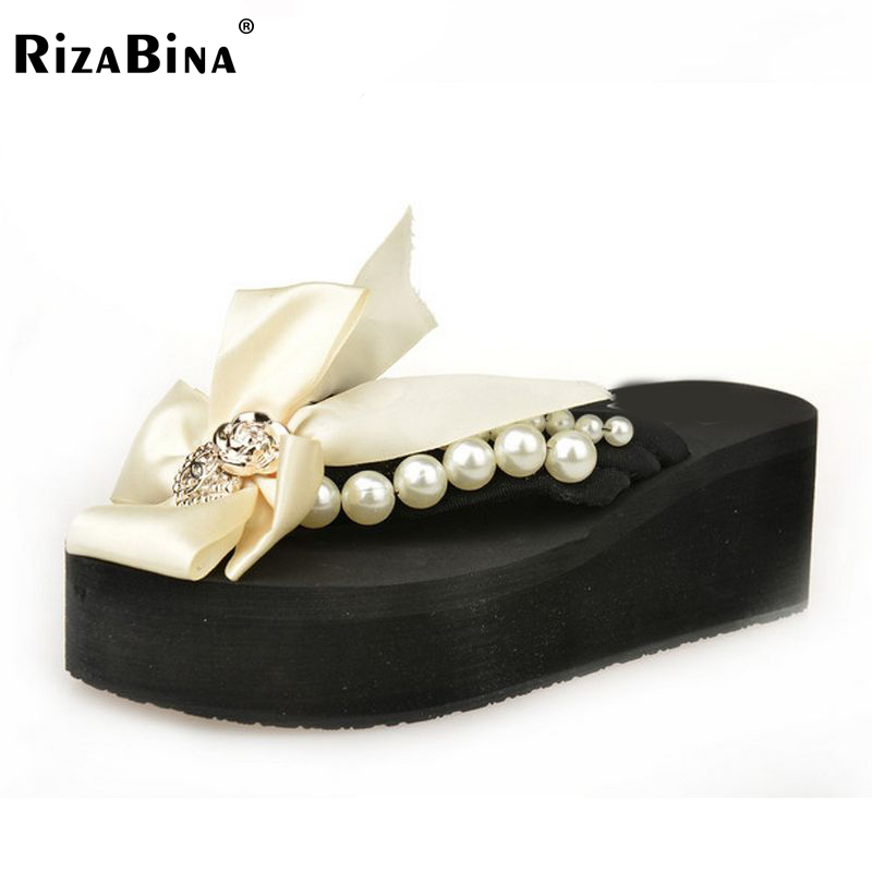 RizaBina woman platform high heel sandals women fashion ribbon bowtie bowknot shoes new design slippers shoes size 36-40 WA0777<br><br>Aliexpress