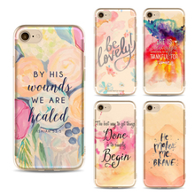 Dream Watercolor Pink Love Case For Iphone 6 6s 6Plus 7 7s 7plus Transparent Silicon Protective Cell Phone Painting Cases Cover(China)