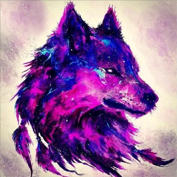Diy Diamond Painting Cross Stitch Wolf Round Rhinestone Diamond Embroidery Animals Diamond Picture