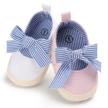 ROMIRUS Baby Princess Girls Mary Jane Shoes First Walker Solid Bow-knot Crib Bebe Striped Ballet Dress Walking Shoe(China)