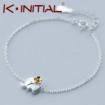 Kinitial 1Pcs 925 Silver Fashion Golden Tone Flower Accessories Jewelry Elephant Chain Bracelet Bangle for women Lovers