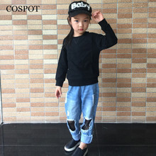 COSPOT Baby Boys Girls Spring Sweatshirt Boy Girl Plain Black Gray Pink T Shirt Kids Fashion Outfits Tops 2017 New Arrival 25C(China)