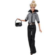 E-TING Handmade Doll Clothes Black Plaid Casual Wear Winter Clothing Bell-Bottom Pants Accessories Handbag Shoes For Barbie Doll