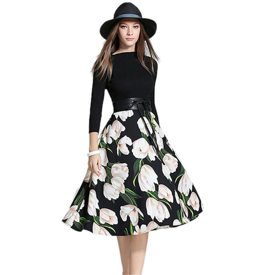 Runway Dresses 2018 Women High Quality Pladi Floral Print Black Knitted A Line Dress Ethnic Spring Autumn Vestido De FestaÎäåæäà è àêñåññóàðû<br><br>