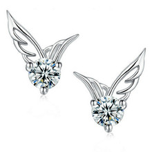 Bride Lady Korean Fashion Silver Jewelry Jewelery Angel Wings Crystal Earrings Exquisite Female Chinese Fashion Earrings