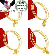 OMHXFC Wholesale European Fashion Woman Girl Party Wedding Gift Lines Flower Duch Fox Angel 18KT Gold Bangles Bracelets BE49(China)