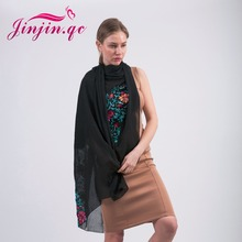 [Jinjin.QC] big size embroidered scarf floral viscose shawls ethnic japanese Bandana for Ladies women echarpe foulard(China)
