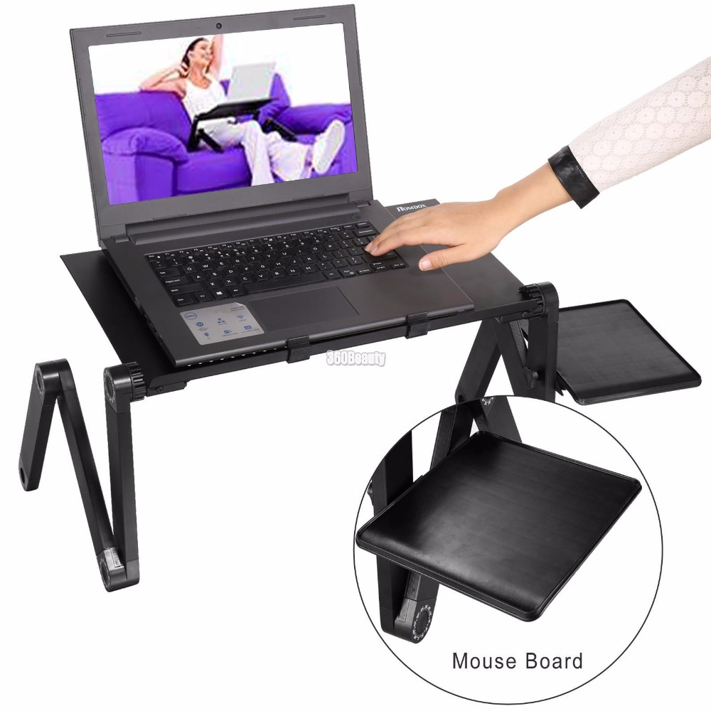 HomdoxHot Sale Laptop Desks Portable Adjustable Foldable Computer Notebook Lap PC Folding Desk Table Vented Stand Bed Tray(China)