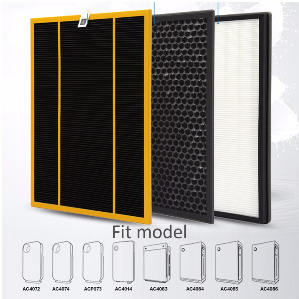 3pcs/lot ac4142 filter kit for Philips AC4072 AC4074 AC4083 AC4084 AC4085 AC4086 AC4014 ACP073 Hepa filters air purifier parts<br>