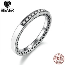 BISAER Genuine 925 Sterling Silver Radiant Hearts Of Silver Enamel Ring for Women with Clear CZ Wedding Brand Jewelry WEU7606(China)