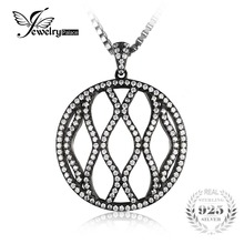 JewelryPalace Fashion 0.5ct Pendant Necklace Pure 925 Sterling Silver Black Gold Plated 18 Inches For Women(China)