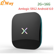2G 16G Amlogic S912 ARM Mali-T820MP3 Android 6.0 Smart TV Box X player 5G WIFI 1000M LAN Set top BOX H.265 4K Media Player