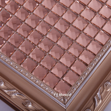 13 factes edges Pink Diamond Mirror Glass Mosaic Tile, Showroom KTV Bar Display cabinet borders DIY wall sticker decorate(China)