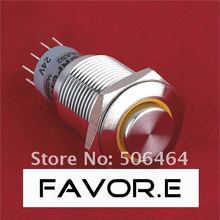 Stainless steel 16mm Automotive power IP67 3A/250VAC ring illuminated 2NO 2NC Momentary LED metal Push Button Switch High round