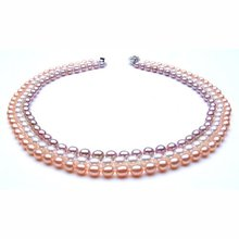 THREE ROWS!!! 5-6MM Size Korean Style Freshwater Pearl Necklace Fashion Popular Cool Jewelry Nice Gift Accessory