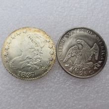 United States Coins  1837 Capped Bust Quarter Dollar ( NO SCROLL ON REVERSE ) Copy Coin Free Shipping