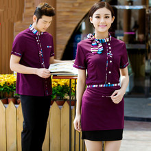 Hotel Work Clothing Unisex Women and Mens Short Sleeve Hotel Cafe Hot Pot Restaurant Black Cheap Staff Uniforms Free Shipping
