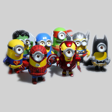 8pcs/set 3D Eye Minion Cos Avengers Superheroes Iron man Spriderman Hulk Thor Superman PVC Action Figures Kids Toys ZZD03(China)
