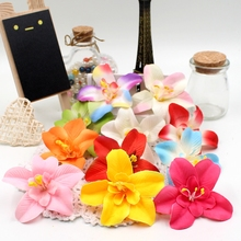 10pcs 7cm Silk Artificial Gradient Orchid Flower Head For Wedding Car Decoration DIY Garland Decorative Floristry Fake Flowers