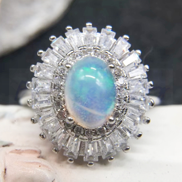 Opal rings Free shipping Natural real opal 925 sterling silver 5*7mm 0.5ct gemstone Luxury style #SL18062009