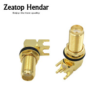 10Pcs Gold Copper Long SMA Adapter PCB Mount SMA Female Jack Right Angle Coaxial RF SMA Connector(China)