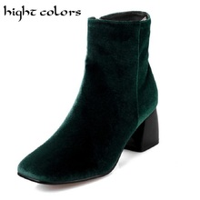 Plus size 34-43 Spring Autumn Women Boots Solid European Ladies shoes Martin boots Suede Leather Ankle Boots With Thick Scrub