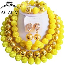 Brand ACZUV 18inches African Fashion Beads Jewellery Designs Yellow Plastic Pearl Necklace For Women AN053(China)