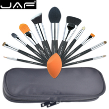 JAF Professional 12 PCS Makeup Brushes & Tool Set Unique Fuctions Cosmetic Complexion Sponge Polyester Zipper Case J1209MYZ-B(China)