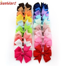 Trendy Style New Fashion Children Colourful 20PCS Girl Baby Bow Hair Clip Grosgrain Ribbon Boutique Bowknot Hairpin