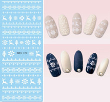 New Water Transfer Nail Art Stickers Nail Decals White Xmas Christmas Watermark Fingernails Decals DIY Nail Design DS372