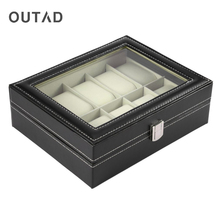 OUTAD Black PU Leather 10 Grid Watch Box Professional Storage Collection Holder Organizer Case Wrist Watch Jewelry Display Box(China)