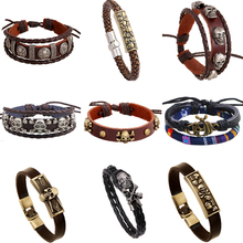 ER 2016 Trendy Customize Cool Motorcycle Leather Scull Bracelet Male Rock Band Metal Stud Skull Rivet Head Jewelry LB031(China)